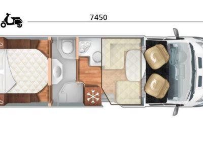 Plan du motorhome Magis 66 en location